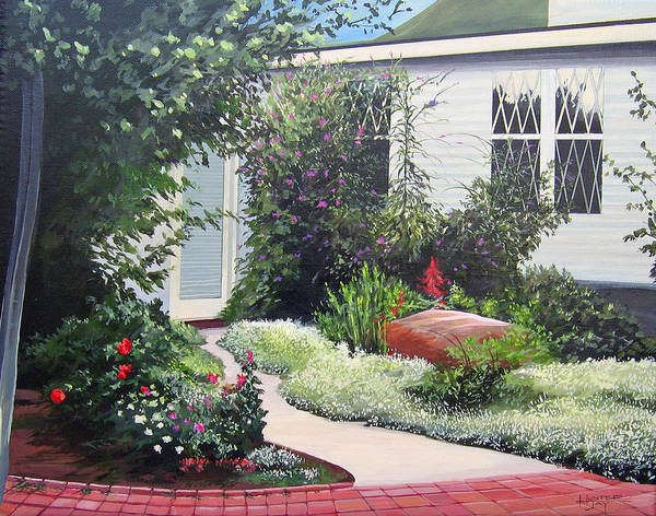 Garden Path Art Print featuring the painting The Hidden Garden by Hunter Jay