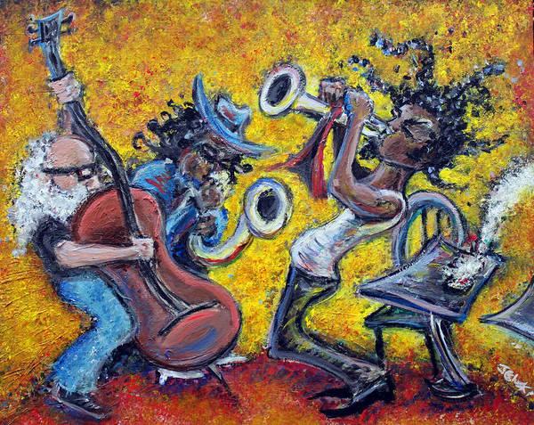 Jazz Music Art Black Musician Art Print featuring the painting The Jazz Trio by Jason Gluskin