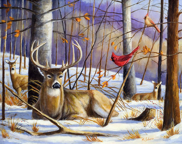 Wildlife Painting Art Print featuring the painting Winter Song by Michael Scherer