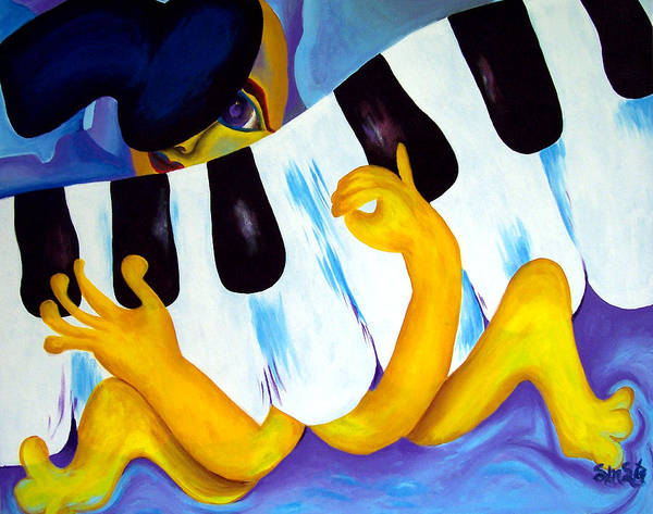Vivid Contemporary Abstract Art Print featuring the painting Piano Man by Shasta Miller