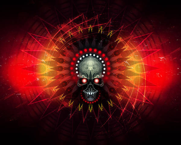 Skull Art Print featuring the digital art Deadstep - Hellfire Remix by George Smith