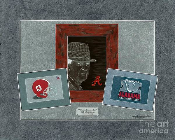 Bear Bryant Art Print featuring the painting Alabama Trio by Herb Strobino