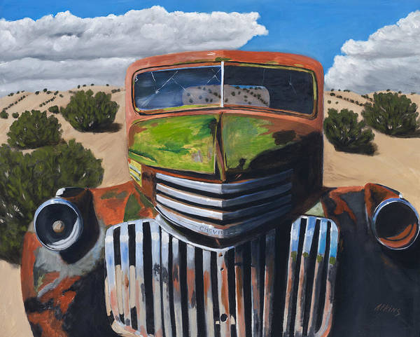 Truck Art Print featuring the painting Desert Varnish by Jack Atkins