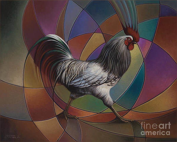 Rooster Art Print featuring the painting Espolones Or Spurs by Ricardo Chavez-Mendez