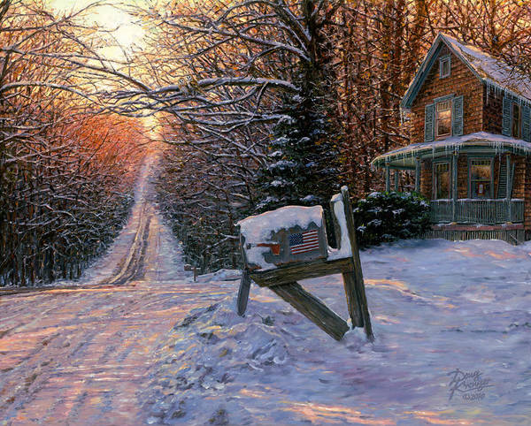 Winter Landscape Art Print featuring the painting Long Way From Home by Doug Kreuger
