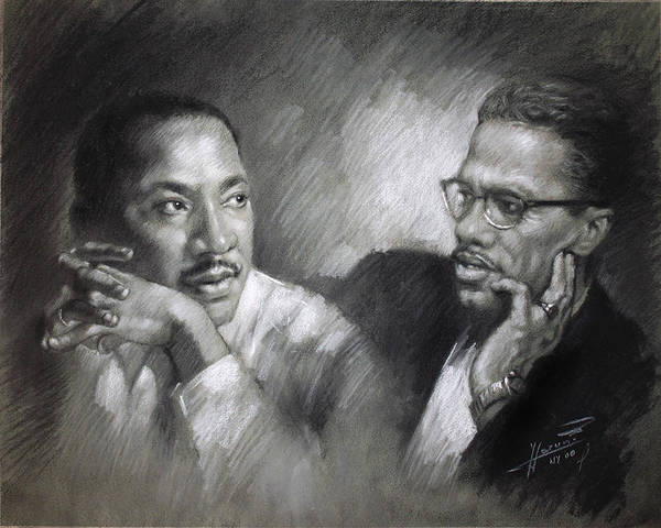 Malcolm X Print featuring the drawing Martin Luther King Jr And Malcolm X by Ylli Haruni