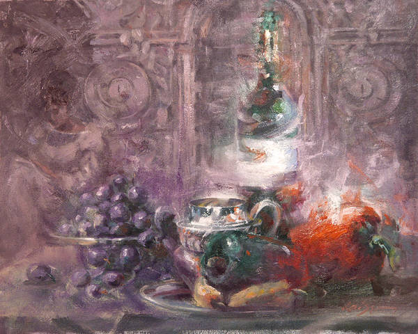 Still Life Art Print featuring the painting Peppers And Senorita Reading by Larry Kaiser