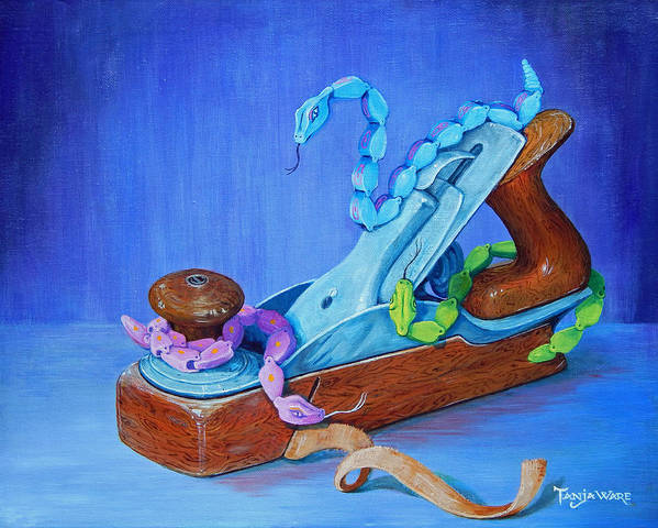 Snakes Art Print featuring the painting Snakes On A Plane by Tanja Ware