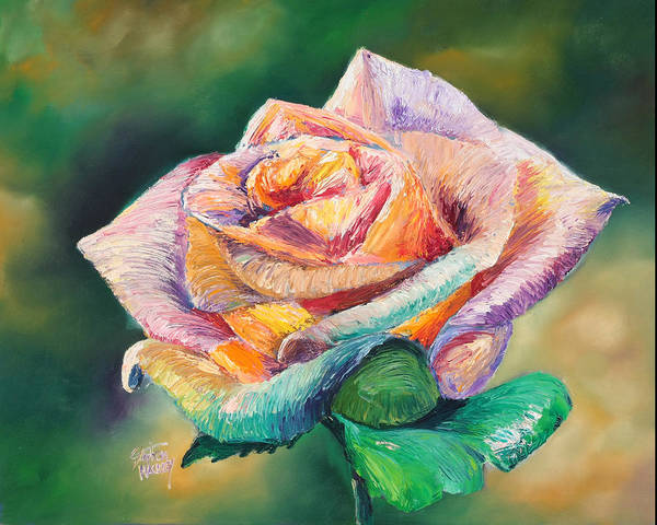 Flower Art Print featuring the painting The Colors Of A Rose by Stephen Kenneth Hackley