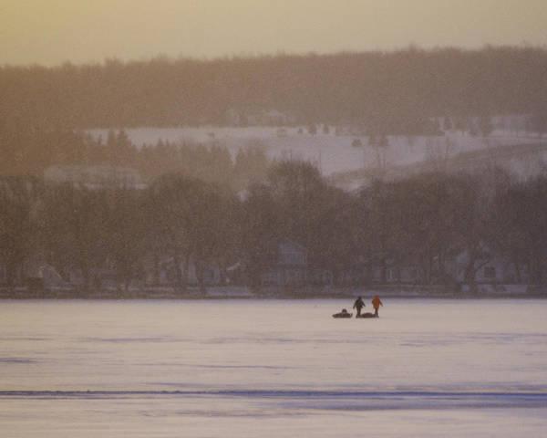 Canandaigua Lake Art Print featuring the photograph Lake Crossing February 2010 by Joseph Duba