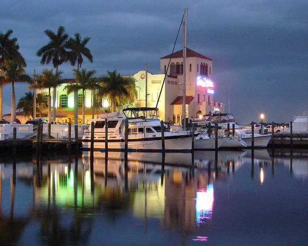 Boat Art Print featuring the photograph Evening At The Twin Dolphin Marina by Kimberly Camacho