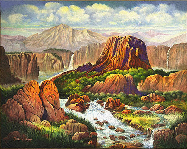 Western Art Mountains Southwest Landscapes New Mexico Waterfalls Art Print featuring the painting Gully Washer by Donn Kay