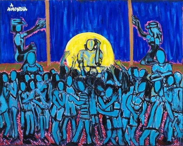 Dancing Art Print featuring the painting Rhythm Blue by Albert Almondia