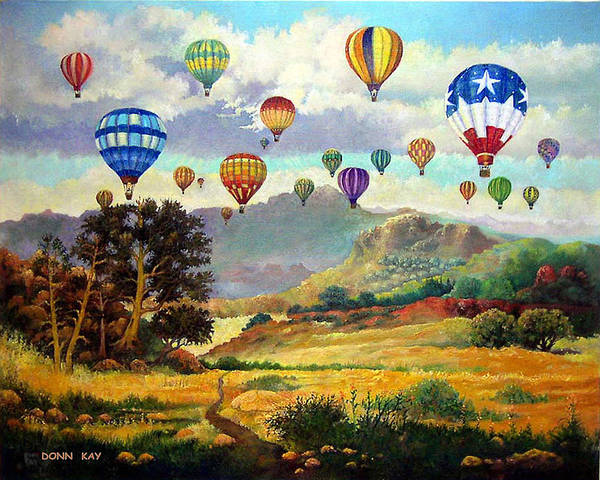 Balloons Mountains New Mexico Texas Southwest Landscape Art Print featuring the painting Sky Full Of Color by Donn Kay