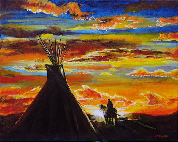 Tipi Art Print featuring the painting A Good Day by Karl Wagner