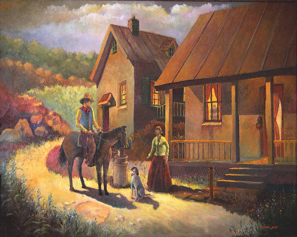 Giclee Prints Texas Cowboy Young Love Mountains Horses Dog Houses Southwest Landscape Art Print featuring the painting Come A Court N by Donn Kay