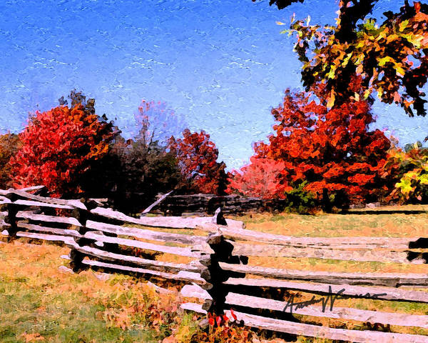Fence Art Print featuring the digital art Country Autumn by Anthony Caruso