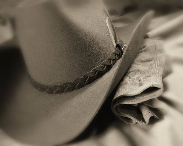 Cowboy Art Print featuring the photograph Cowboy Hat And Gloves by Tom Mc Nemar