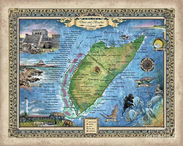 Cozumel, cozumel wedding, destination wedding, cozumel map, Hand-Painted Historic map,scuba wall art by Lisa Middleton