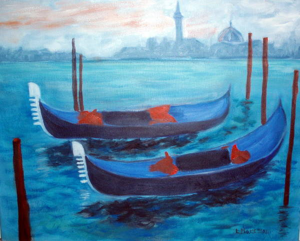 Venice Art Print featuring the painting Dancing Gondolas by Lia Marsman