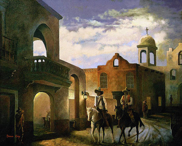 Texas New Mexico Cowboy Southwest 1800 Art Print featuring the painting Dos Amigos by Donn Kay