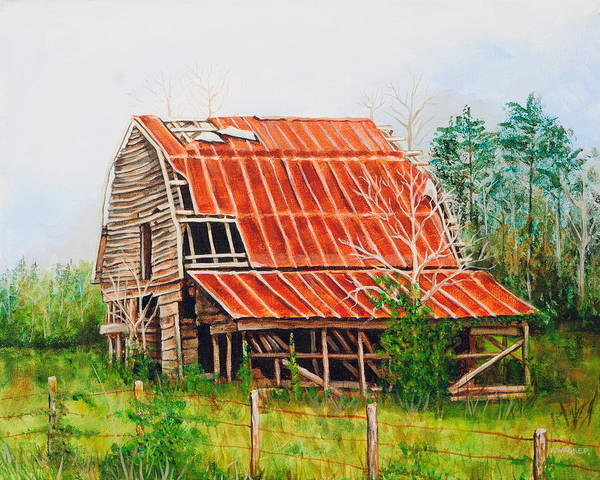 Barn Art Print featuring the painting Fading Memories by Karl Wagner