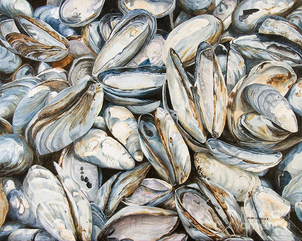 Sea Shells Art Print featuring the painting Fundy Blues by Helen Shideler