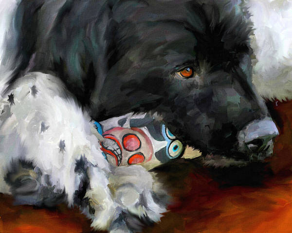 Newfoundland Art Print featuring the painting Gentle Soul by Jai Johnson