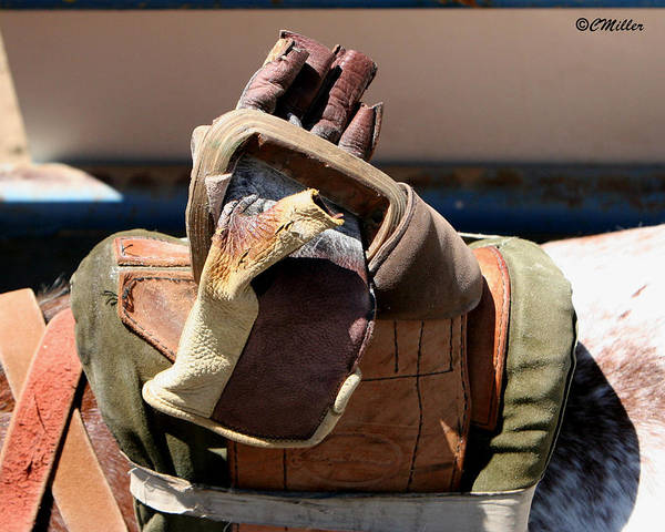 Rodeo Art Print featuring the photograph Glove And Riggin.. by Carol Miller