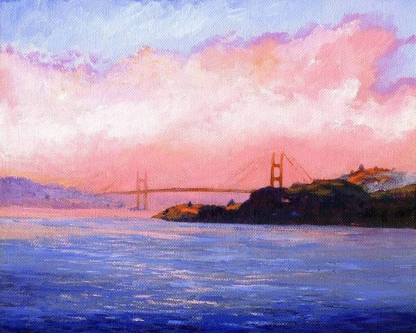 Landscape Art Print featuring the painting Golden Gate Bridge by Frank Wilson