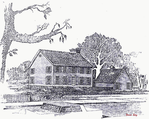 Antique Homes Houses New England Texas Trees Giclee Prints Architectural Art Print featuring the drawing House On Old Creek Road by Donn Kay