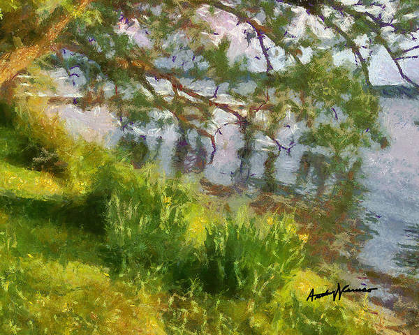 Lake Art Print featuring the painting Lakeshore by Anthony Caruso