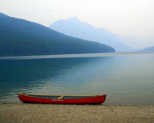 Glacier National Park Art Print featuring the photograph Lonly Canoe by Marty Koch