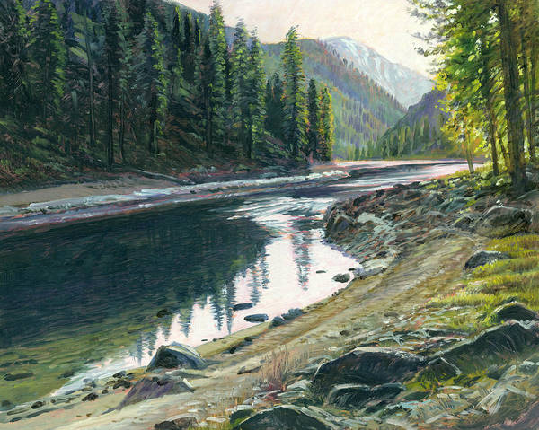 River Art Print featuring the painting Near Horse Creek by Steve Spencer