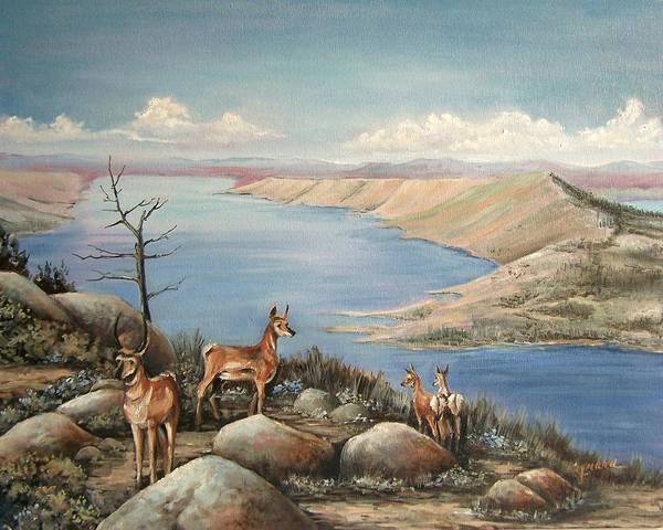 Antelope Overlook Wyoming Landscape Art Print featuring the painting Overlook by Cynara Shelton