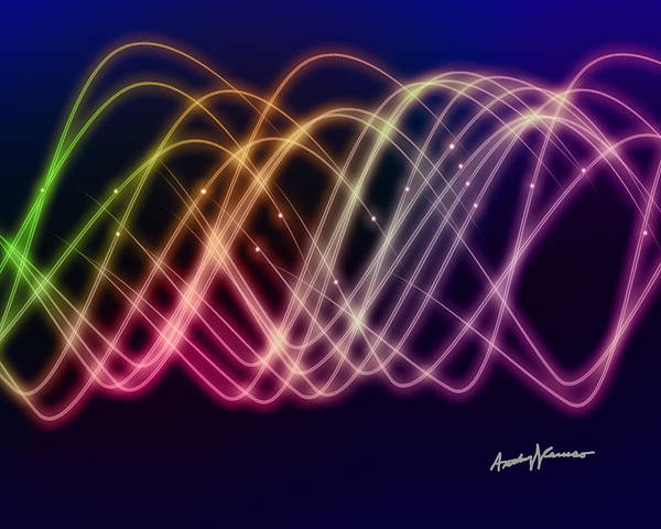 Sine Art Print featuring the digital art Rainbow Waves by Anthony Caruso