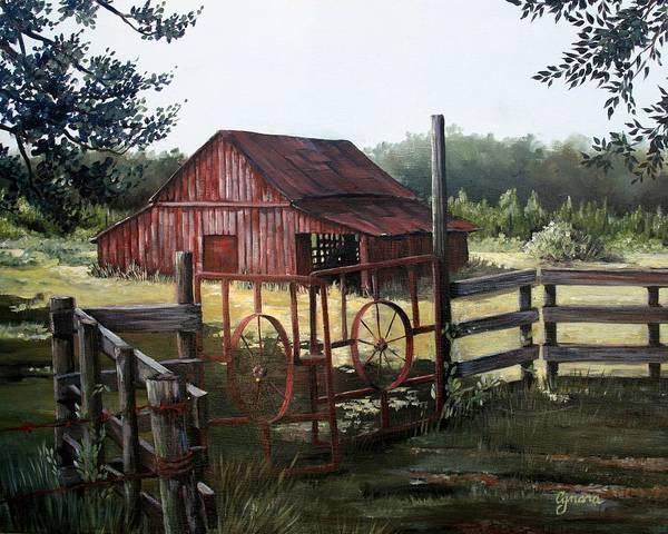 Barn Art Print featuring the painting Red Barn At Sunrise by Cynara Shelton