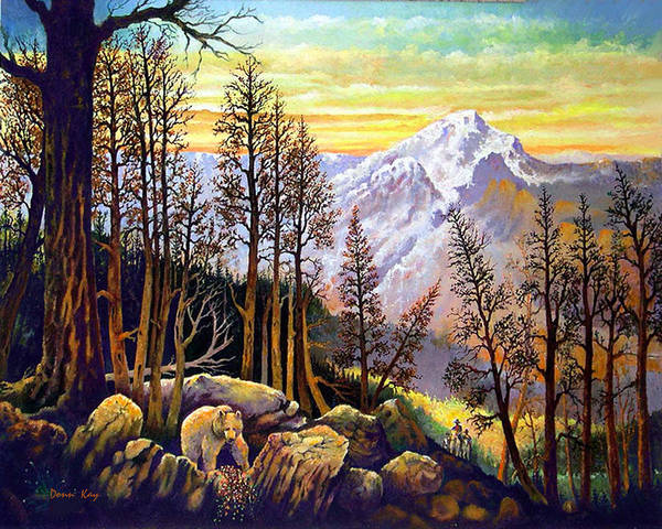 Mountains Colorado New Mexico Bears Cowboys Giclee Prints Art Print featuring the painting Riders Meet Bear For Breakfast by Donn Kay