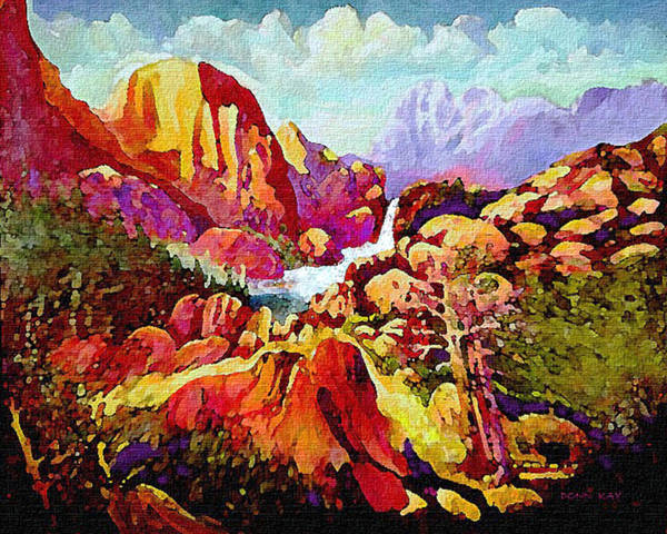 Southwest Mountains Rocks New Mexico Waterfalls Landscape Art Print featuring the painting Springtime In The Southwest by Donn Kay