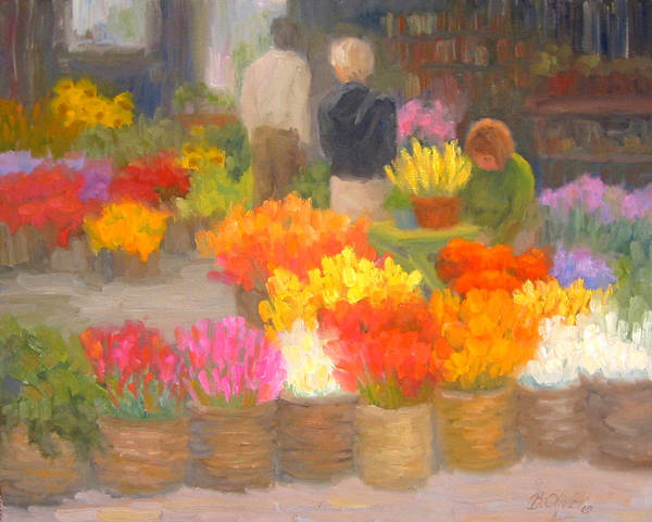 Flowers Art Print featuring the painting Tending Flowers - Amsterdam by Bunny Oliver