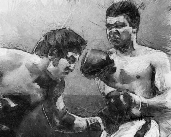 Ali Print featuring the drawing The Greatest by Anthony Caruso