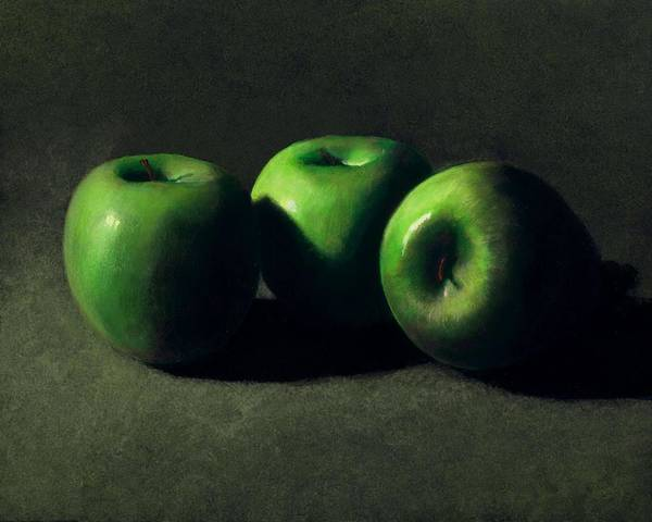 Still Life Art Print featuring the painting Three Green Apples by Frank Wilson