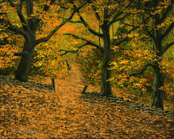 Landscape Art Print featuring the painting Through The Fallen Leaves by Frank Wilson
