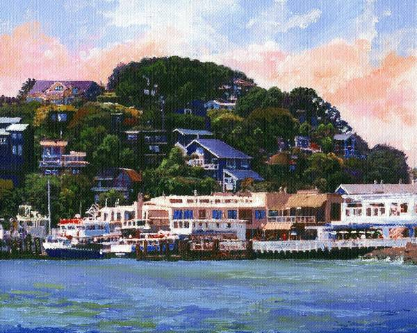 Landscape Art Print featuring the painting Tiburon California Waterfront by Frank Wilson