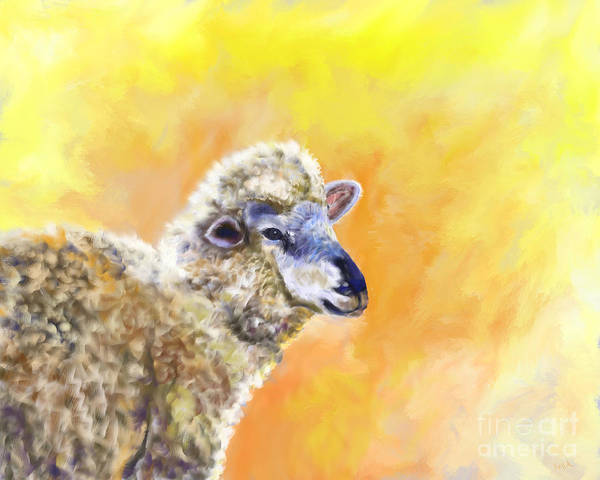 Lamb Art Print featuring the painting Under The Lemon Sky by Barb Kirpluk