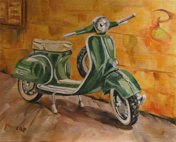Vespa Art Print featuring the painting Vespa 3 by Cheryl Pass