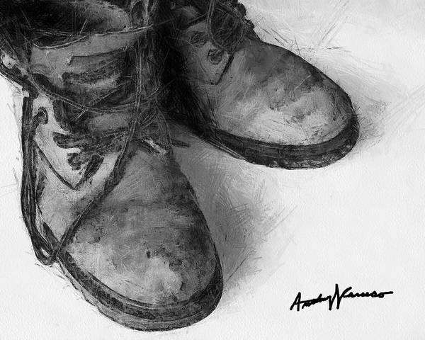 Boots Art Print featuring the painting Work Boots by Anthony Caruso
