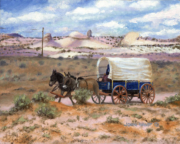 Navajo Indian Southwestern Monument Valley Wagons Art Print featuring the painting Slow Boat To Chinle by John Watt