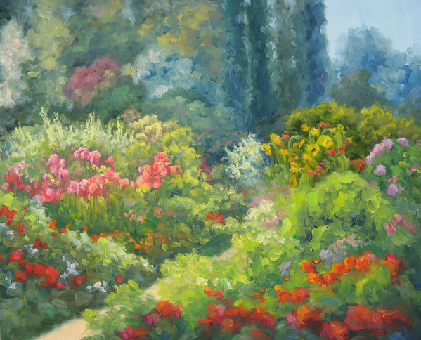 Landscape Art Print featuring the painting Enchanted Garden by Bunny Oliver