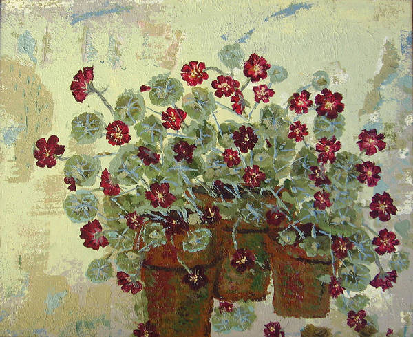 Flower Art Print featuring the painting Nasturtiums by Gaye Heidinger